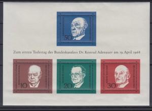 Bund Block 4 1.Todestag Konrad Adenauer (I) postfrisch