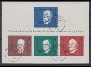 Bund Block 4 1.Todestag Konrad Adenauer (I) Tagesstempel Koblenz 9.12.69