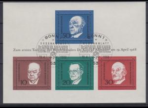 Bund Block 4 1.Todestag Konrad Adenauer (I) Ersttagsstempel Bonn 19.4.68