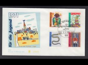 Bund FDC mit 660-663 Für die Jugend mit ESST 5.2.1971