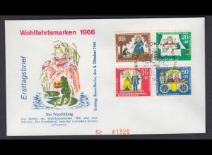 Bund FDC mit 523-526 Wohlfahrt Märchen der Brüder Grimm mit ESST 5.10.1966