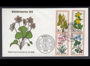 Bund FDC mit 982-985 Wohlfahrt Waldblumen mit ESST 12.10.1978