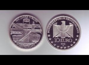 Silbermünze 10 Euro 2002 100 Jahre U-Bahn spiegelglanz