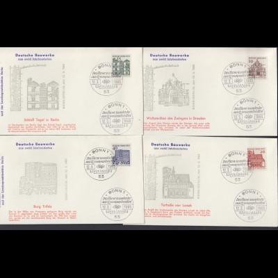 Bund 8 FDC`s mit 454-461 Bauwerke aus zwölf Jahrhunderten 8 Werte mit ESST Bonn