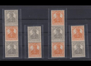 Deutsches Reich 98-99b Zusammendruck S 11b-14b Germania 2,5 + 7,5 Pf postfrisch