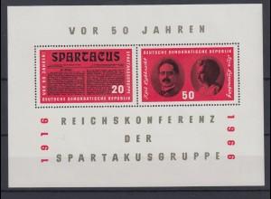 DDR Block 25 50. Jahrestag der Reichskonferenz 20 + 50 Pf postfrisch
