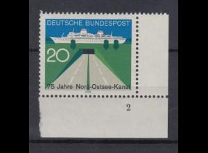 Bund 628 Eckrand rechts unten 75 Jahre Nord Ostsee Kanal 20 Pf postfrisch