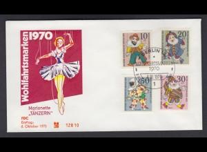 Berlin FDC mit 373-376 Wohlfahrt Marionetten ESST 6.10.1970