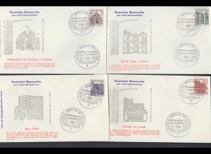 Berlin 8 FDC`s mit 242-249 Bauwerke aus zwölf Jahrhunderten ESST 1964/1965