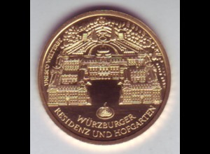 Goldmünze 100 Euro 2010 UNESCO Weltkulturerbe Würzburger Residenz und Hopfgarten
