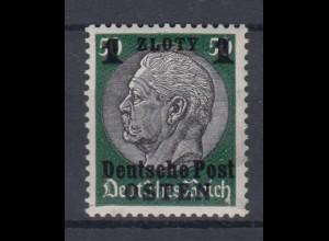 Generalgouvernement 12 Hindenburg mit schwarzem Aufdruck 1 Zloty postfrisch