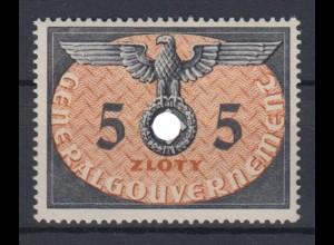 Generalgouvernement 15 Dienstmarken 5 Zloty postfrisch