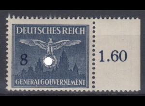 Generalgouvernement 26 Dienstmarke mit Seitenrand 8 Gr postfrisch