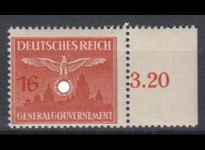 Generalgouvernement 29 Dienstmarke mit Seitenrand 16 Gr postfrisch