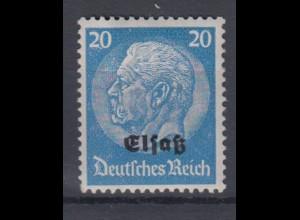 Elsaß 9 Hindenburg mit schwarzem Bdr. Aufdruck 20 Pf postfrisch