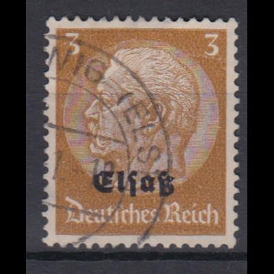 Elsaß 1 Hindenburg mit schwarzem Bdr. Aufdruck 3 Pf gestempelt /1