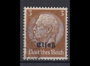 Elsaß 1 Hindenburg mit schwarzem Bdr. Aufdruck 3 Pf gestempelt /2