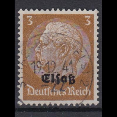 Elsaß 1 Hindenburg mit schwarzem Bdr. Aufdruck 3 Pf gestempelt /3
