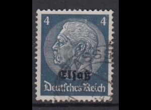 Elsaß 2 Hindenburg mit schwarzem Bdr. Aufdruck 4 Pf gestempelt /3