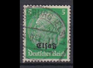 Elsaß 3 Hindenburg mit schwarzem Bdr. Aufdruck 5 Pf gestempelt /1