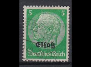 Elsaß 3 Hindenburg mit schwarzem Bdr. Aufdruck 5 Pf gestempelt /2