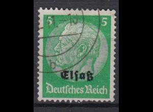 Elsaß 3 Hindenburg mit schwarzem Bdr. Aufdruck 5 Pf gestempelt /3