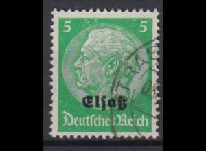 Elsaß 3 Hindenburg mit schwarzem Bdr. Aufdruck 5 Pf gestempelt /4