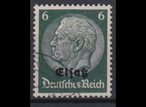 Elsaß 4 Hindenburg mit schwarzem Bdr. Aufdruck 6 Pf gestempelt /1