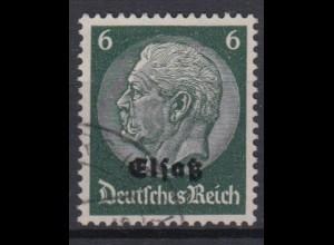 Elsaß 4 Hindenburg mit schwarzem Bdr. Aufdruck 6 Pf gestempelt /2
