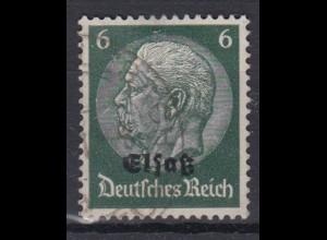 Elsaß 4 Hindenburg mit schwarzem Bdr. Aufdruck 6 Pf gestempelt /3