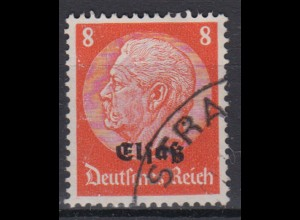 Elsaß 5 Hindenburg mit schwarzem Bdr. Aufdruck 8 Pf gestempelt /2