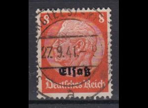 Elsaß 5 Hindenburg mit schwarzem Bdr. Aufdruck 8 Pf gestempelt /3