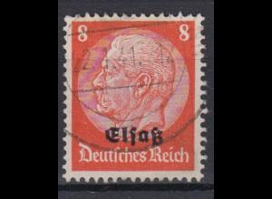 Elsaß 5 Hindenburg mit schwarzem Bdr. Aufdruck 8 Pf gestempelt /4