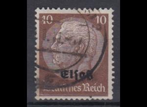 Elsaß 6 Hindenburg mit schwarzem Bdr. Aufdruck 10 Pf gestempelt /1