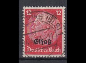 Elsaß 7 Hindenburg mit schwarzem Bdr. Aufdruck 12 Pf gestempelt /1