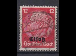 Elsaß 7 Hindenburg mit schwarzem Bdr. Aufdruck 12 Pf gestempelt /2