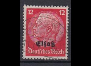 Elsaß 7 Hindenburg mit schwarzem Bdr. Aufdruck 12 Pf gestempelt /3