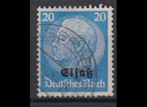 Elsaß 9 Hindenburg mit schwarzem Bdr. Aufdruck 20 Pf gestempelt /2