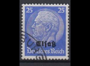 Elsaß 10 Hindenburg mit schwarzem Bdr. Aufdruck 25 Pf gestempelt /1