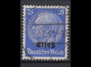Elsaß 10 Hindenburg mit schwarzem Bdr. Aufdruck 25 Pf gestempelt /2