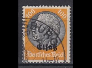 Elsaß 16 Hindenburg mit schwarzem Bdr. Aufdruck 100 Pf gestempelt /1