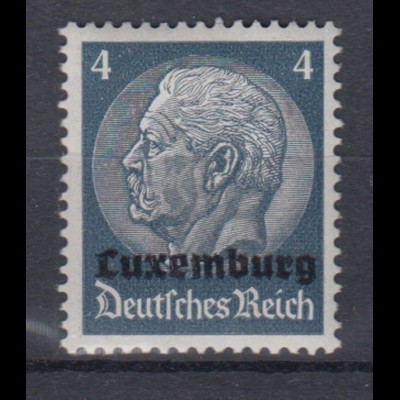 Luxemburg 2 Hindenburg mit waagerechtem Aufdruck 4 Pf postfrisch