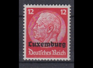 Luxemburg 7 Hindenburg mit waagerechtem Aufdruck 12 Pf postfrisch