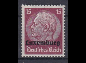 Luxemburg 8 Hindenburg mit waagerechtem Aufdruck 15 Pf postfrisch