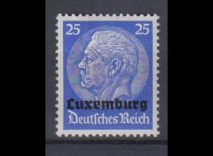 Luxemburg 10 Hindenburg mit waagerechtem Aufdruck 25 Pf postfrisch