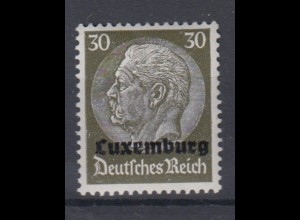 Luxemburg 11 Hindenburg mit waagerechtem Aufdruck 30 Pf postfrisch