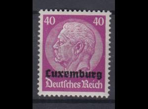 Luxemburg 12 Hindenburg mit waagerechtem Aufdruck 40 Pf postfrisch