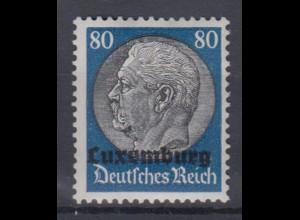 Luxemburg 15 Hindenburg mit waagerechtem Aufdruck 80 Pf postfrisch