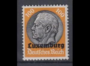 Luxemburg 16 Hindenburg mit waagerechtem Aufdruck 100 Pf postfrisch