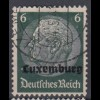 Luxemburg 4 Hindenburg mit waagerechtem Aufdruck 6 Pf gestempelt /2